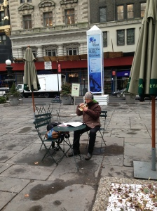 A sign of the miracles to come:  a musician warming up to spring